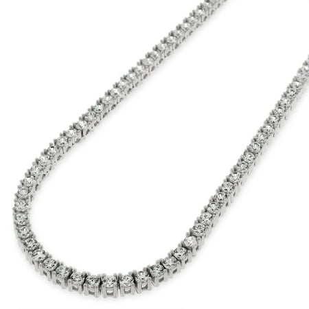 Sterling Silver 3mm Brilliant-Cut Clear Round CZ Solid 925 White Tennis Necklace 20