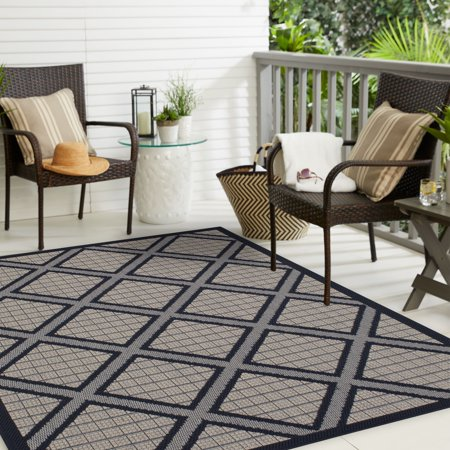 Mainstays Zoell Bay Outdoor Area Rug, Dark Blue, (Best Wedding Locations Bay Area)