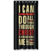 GreenDecor Bible Verse I Can Do All Things Through Christ Who Strengthens Me Philippians Waterproof Shower Curtain Set with Hooks Bathroom Accessories Size 36x72 inches