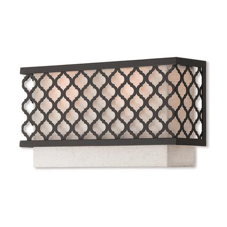 World Of Crystal Vega Wall Sconces 8In English Bronze Steel 2 Light