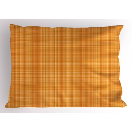 Orange Pillow Sham Striped Fiber Texture Image Abstract Thin Lines Complex Grid in Vintage Design Print, Decorative Standard Size Printed Pillowcase, 26 X 20 Inches, Orange, by Ambesonne ()