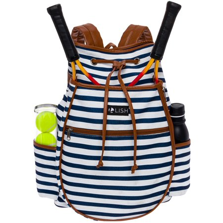 Striped Backpack - LISH Women's Down the Line Canvas Stripe Tennis Racquet Holder Backpack