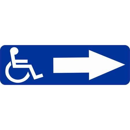 Arrow Fixed Wheel - 10 x 3 Right Arrow Wheelchair Access Sticker Vinyl Business Handicap Sign