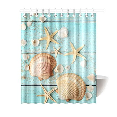 MKHERT Summer Blue Wooden Seashell Starfish Waterproof Shower Curtain Decor Fabric Bathroom Set 60x72 inch (Seashell Shower Curtain)