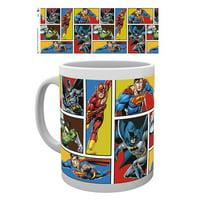 Justice League Of America - Ceramic DC Comics Coffee Mug / Cup (Heroes In Action - Grid - Batman, Superman, Green Lantern & The Flash)