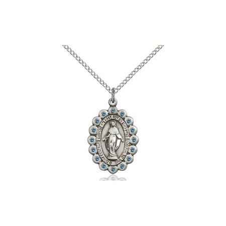 Solid 925 Sterling Silver Miraculous Immaculate Conception Virgin Saint Mary 7 8 X 5 8  Medal Pendant On A 18 Sterling Silver Curb Chain Necklace Gift Boxed
