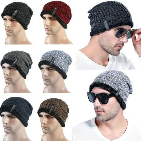 Men Autumn Winter Crochet Knit Baggy Beanie Wool Hat Outdoor Skull Warm Chic Cap New Wool Skull Cap