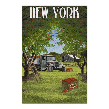 New York - Apple Orchard and Truck (20x30 Premium 1000 Piece Jigsaw Puzzle, Made in USA!)