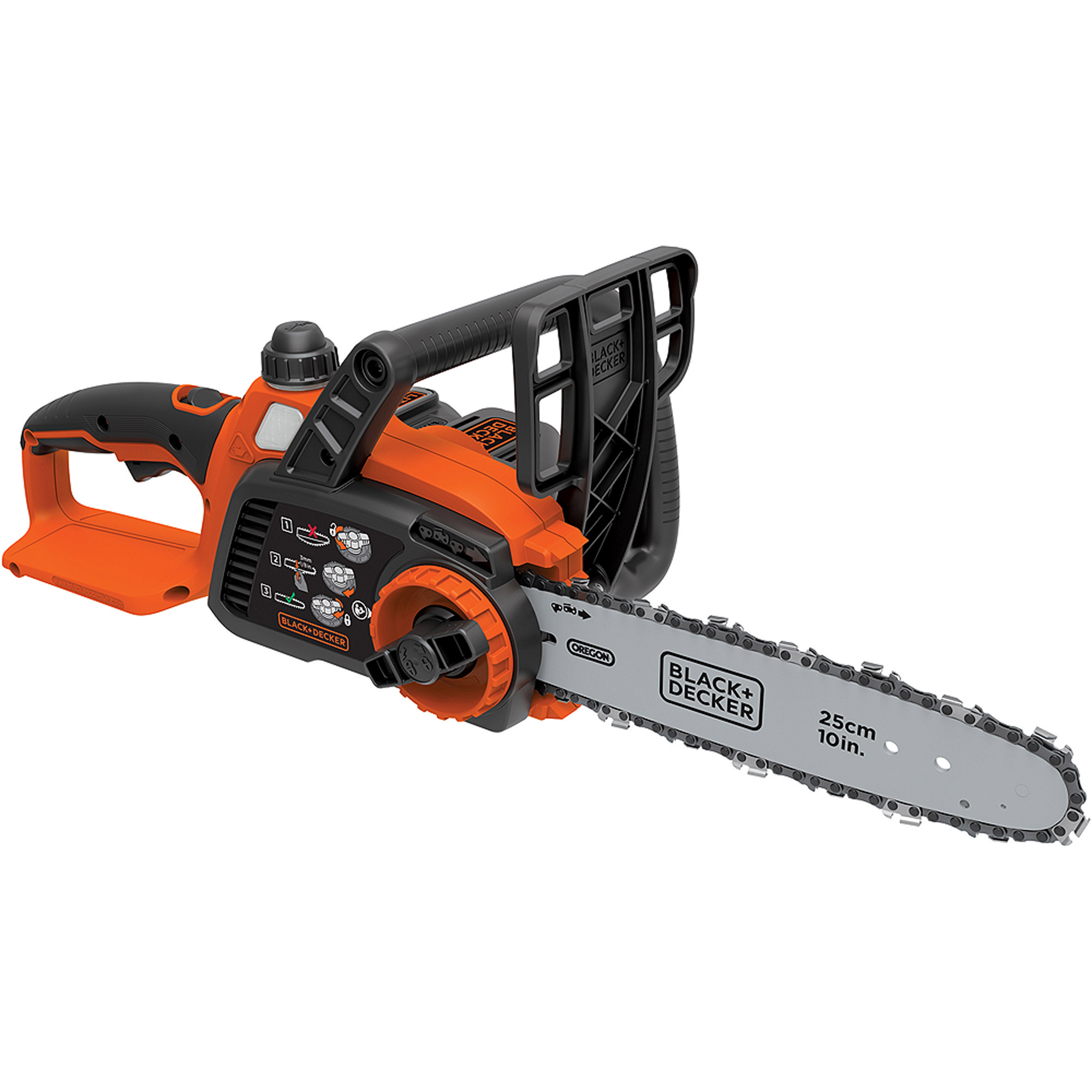 "Black and Decker 20V Lithium Ion 10"" Chainsaw"