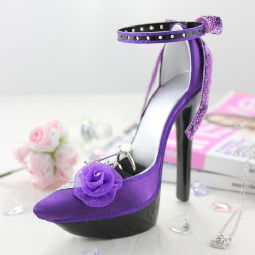 Elegant Rose Platform Shoe Ring and Earring Holder - Purple - 7W x 4H in.