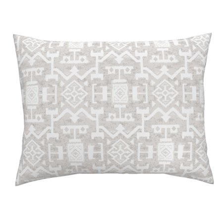 Kilim Marrakech Brocade Home Interior Neutral White Pillow Sham by Roostery