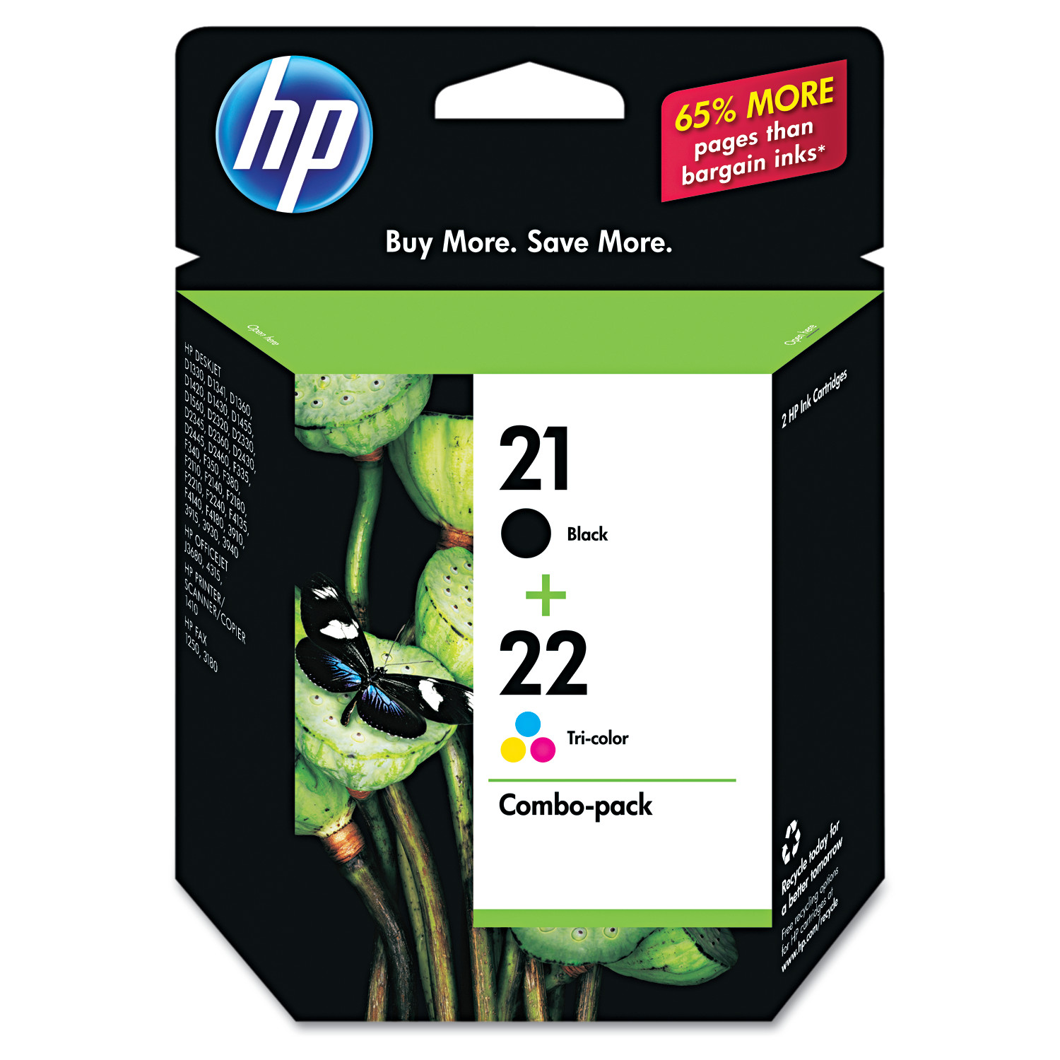 HP 21, (C9509FN) Black / HP 22, Tri-Color 2-pack Original Ink Cartridges