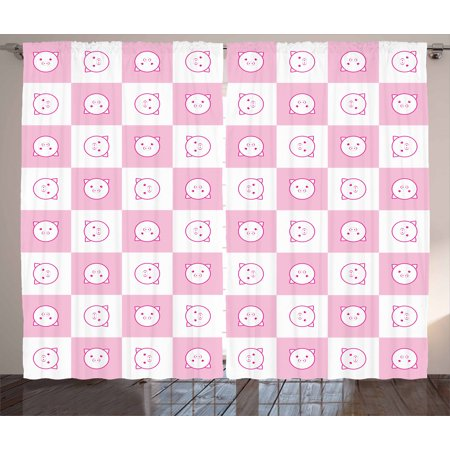 Checkered Curtains 2 Panels Set Squares with Funny Happy Piggy Faces K