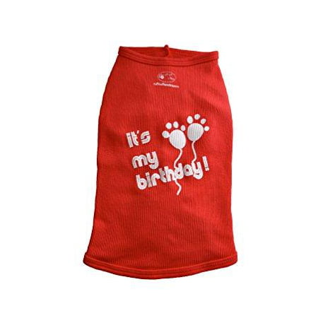 Ruff And Meow Dog Tank Top Its My Birthday Red Large