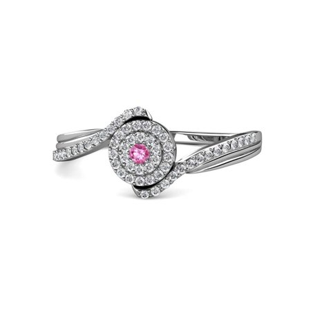 TriJewels Round Pink Sapphire & Diamond Womens Bypass Double Halo Promise Ring 0.29 ctw 14K White Gold.size 7.75