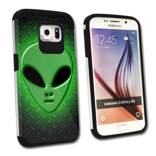 MightySkins Protective Bumper Case Cover for Samsung Galaxy S6 hybrid tpu rubber plastic Alien Invasion