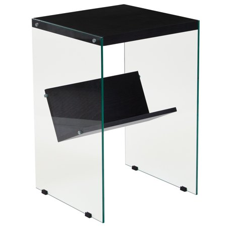 - Flash Furniture Highwood Collection Dark Ash Wood Grain Finish End Table with Shelves and Glass Frame