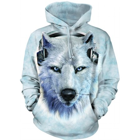 Muppets Animal Hoodie (White Cotton Blend Wolf Dj Awesome Animal Hoodie Cool (Large))