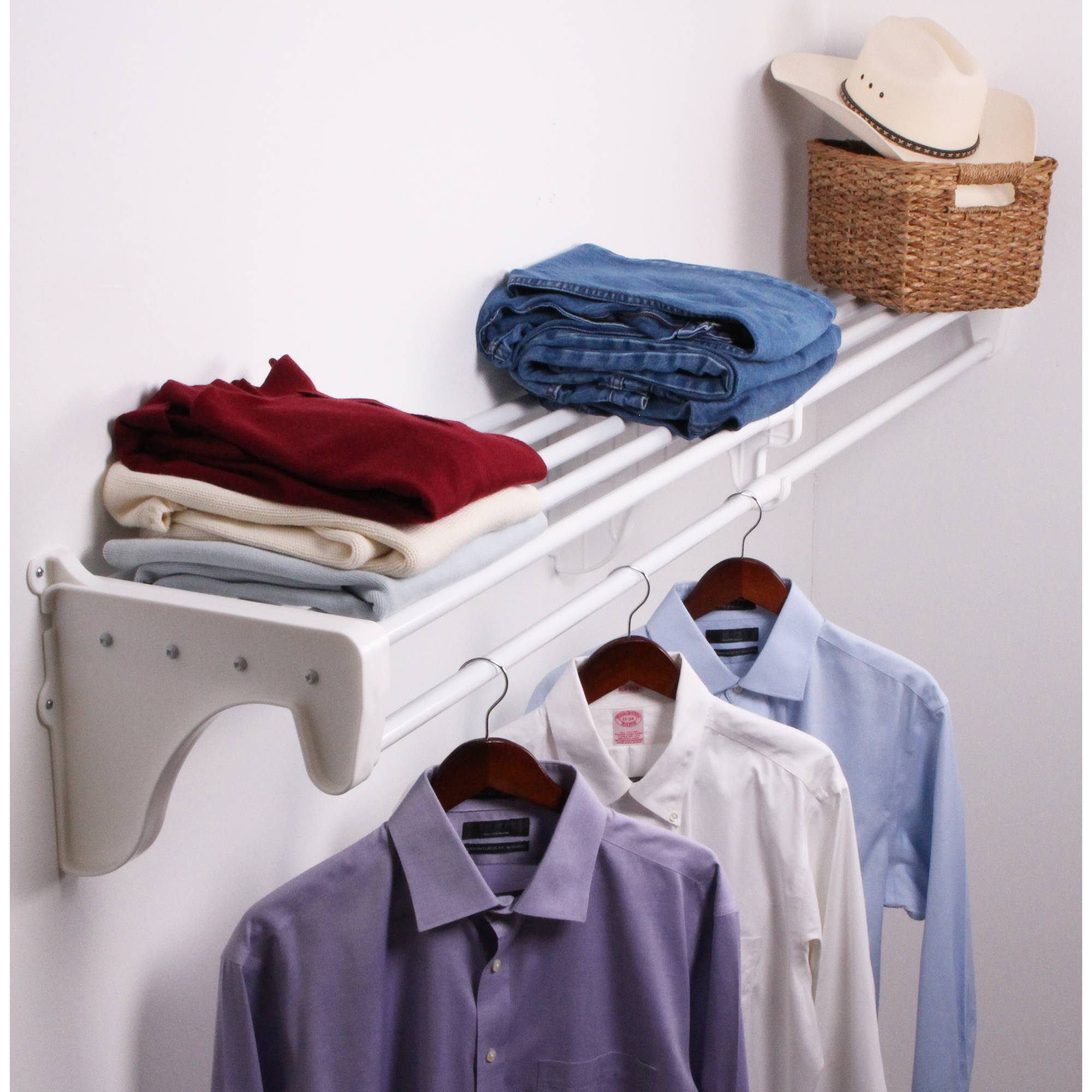 "EZ Shelf 28""-49"" Expandable Closet Shelf and Rod with 1 End Bracket, White"