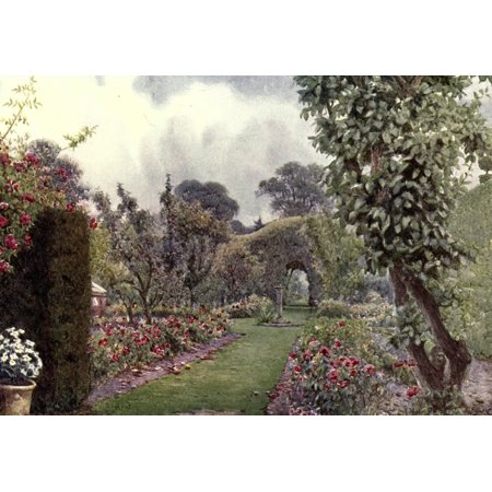 Gardens in Northern Counties 1911 Sundial at Levens Hall Canvas Art - Ernest A Rowe (18 x 24)