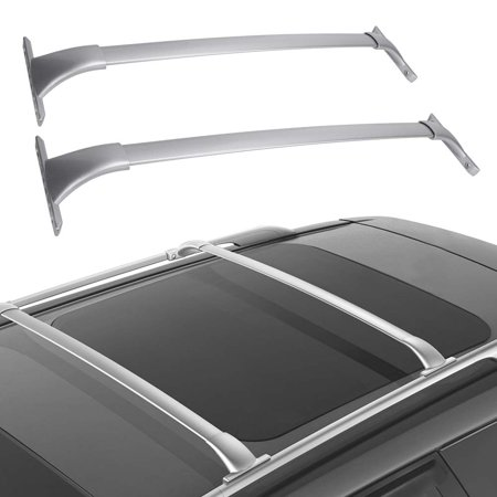 Cross Bars Roof Rack for 2014 2015 2016 2017 2018 Nissan Rogue Crossbars Cargo Luggage White Silver Aluminum Rack - Max Load 150