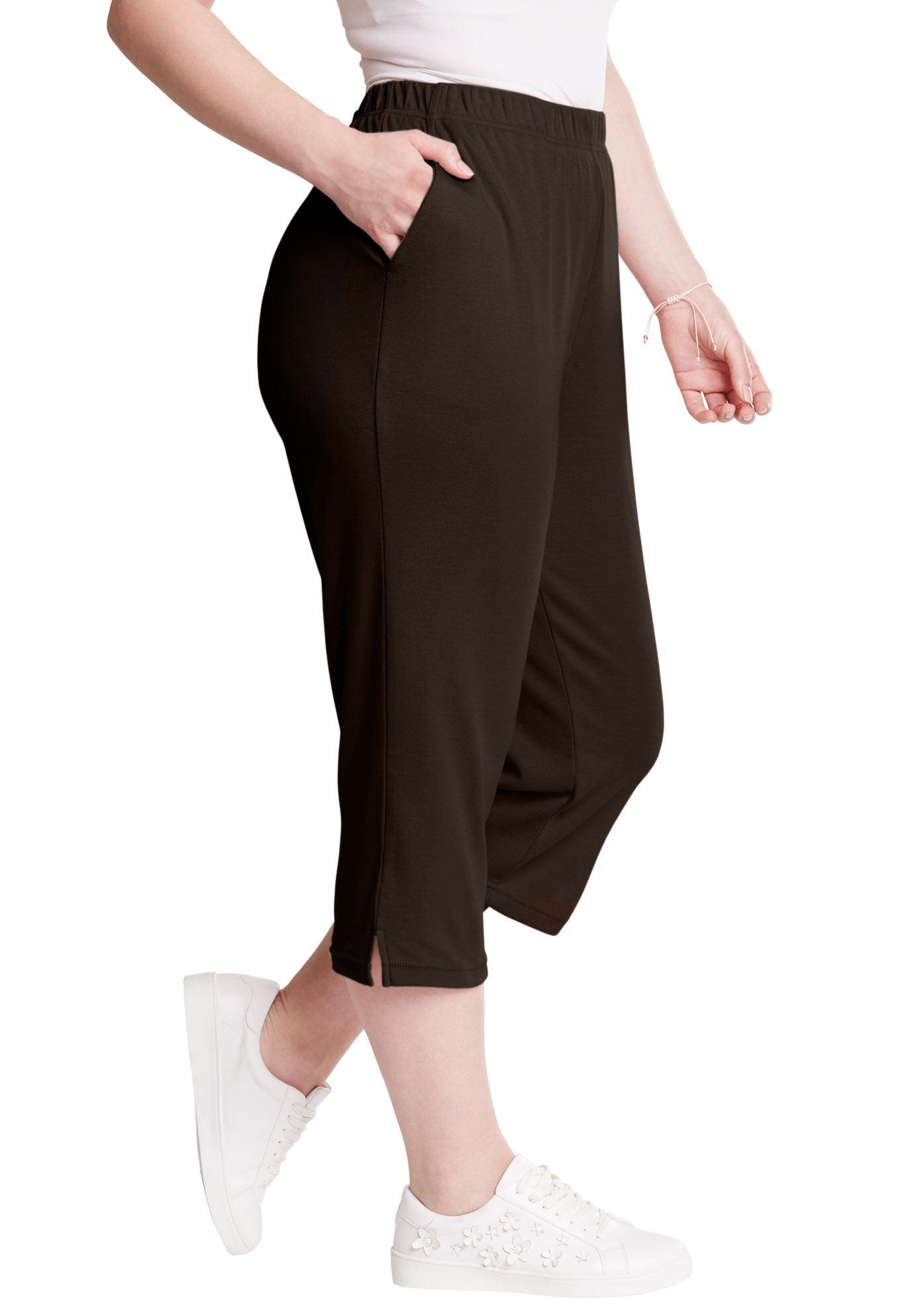 Roaman's Plus Size Petite Soft Knit Capri Pant