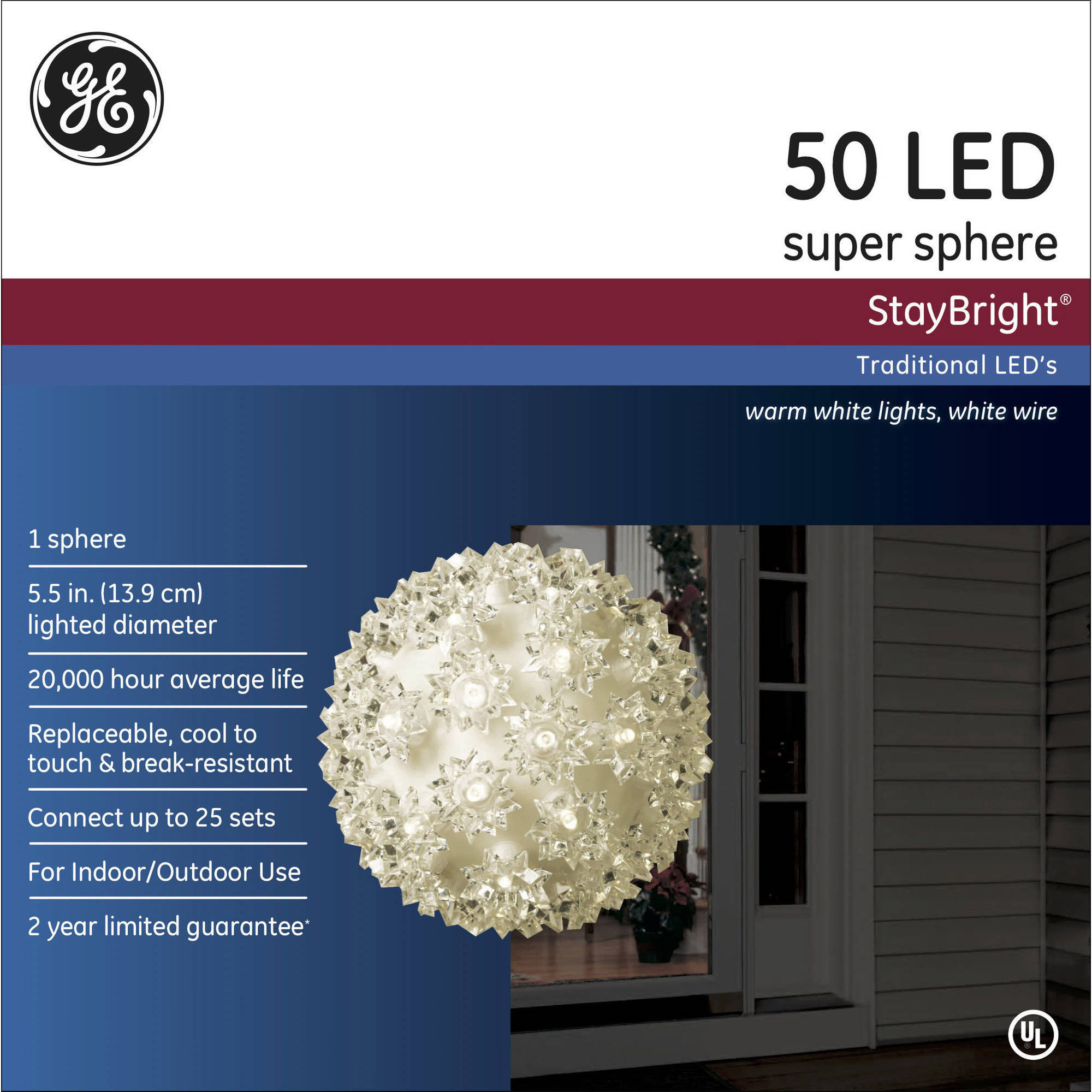 GE StayBright LED Sphere, Warm White, 50 Count