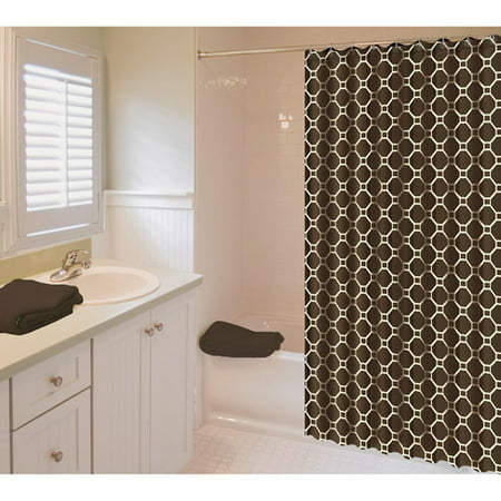 In Style Geo Shower Curtain Brown And Cream