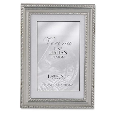 Pewter Entrance (4x6 Metal Picture Frame Pewter Finish with Delicate Beading)