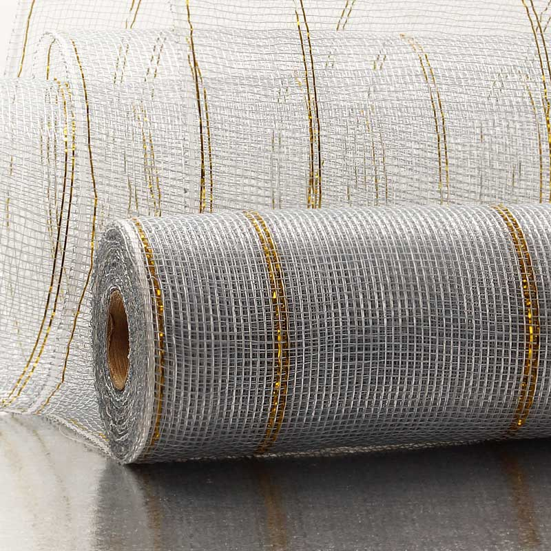 "21"" X 10 Yards Crystl/Silver Deco Mesh W/Thin Metallic Stripe by Paper Mart"