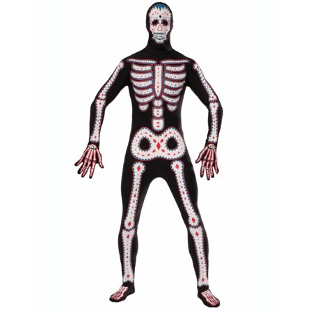 Disappearing Man Day of the Dead Cinco de Mayo Skeleton Costume Jumpsuit Large