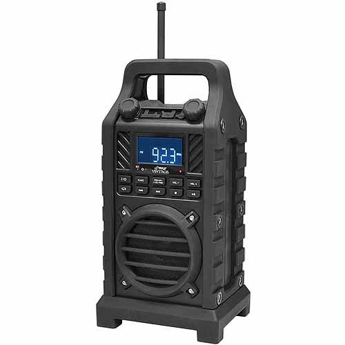 Pyle PWPBT250BK Rugged and Portable Bluetooth Speaker with Durable Construction, Thick Rubber Casing, FM Radio, USB/SD Card Readers, AUX Input and Built-in Rechargeable Battery