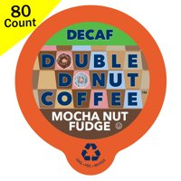 Double Donut, Decaf Mocha Nut Fudge Flavored Coffee Single Serve Cups, 80 Ct