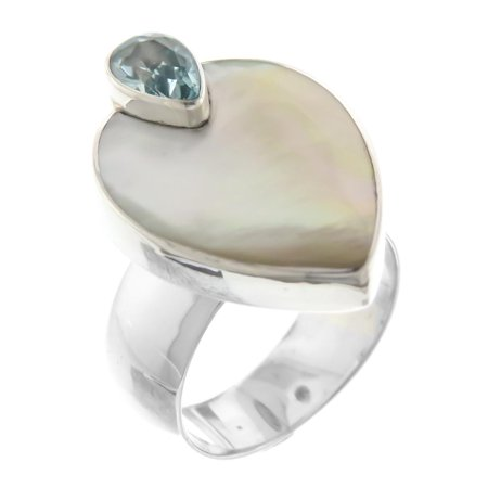 White Oyster Mother of Pearl Blue Topaz Inset 925 Sterling Silver Ring, Size 6,7 ()