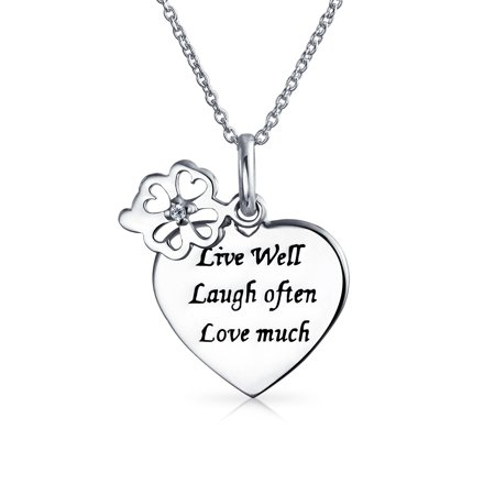 Live Love Laugh Word Quote Circle Flower Charm Heart Shape Pendant Necklace For Women 925 Sterling Silver Woven Circle Pendant