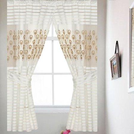 6a662fc14898f Sweet Home Collection Seraphina Striped Semi-Sheer Rod Pocket Single  Curtain Panel - Walmart.com