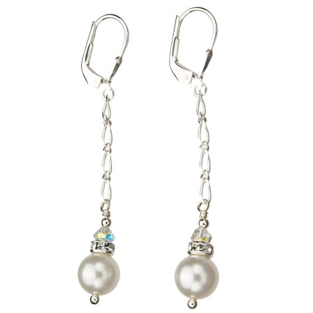 Sterling Silver Chain Earrings Simulated Pearl Made with Swarovski Crystals