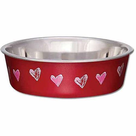 Loving Pets Bella Expressions Medium Hearts Bowl, Valentine Red (Valentine Drinks)