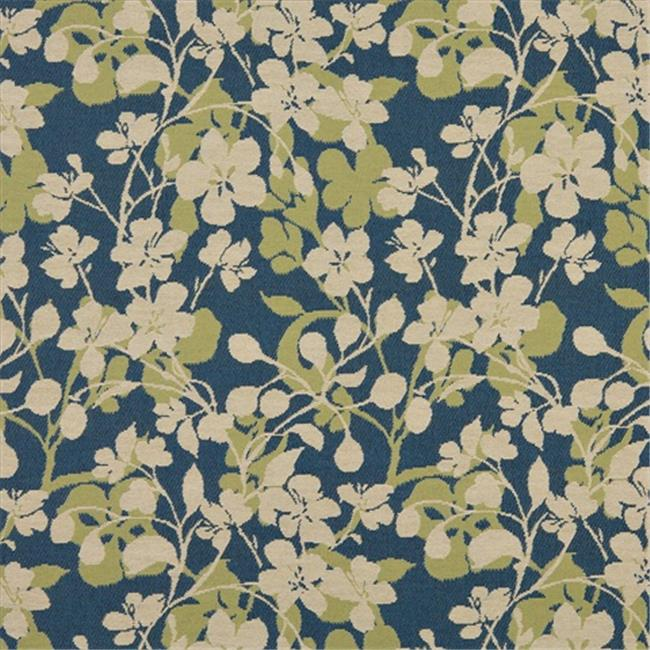 Designer Fabrics K0106A 54 inch Wide Beige, Dark Blue And Lime Green Floral Woven Solution Dyed Indoor & Outdoor