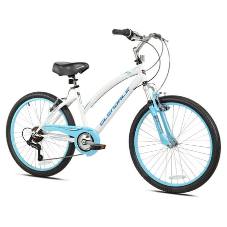 "Kent 24"" Girls', Glendale Bike, White/Blue, For 4'6"" Height Sizes and Up"