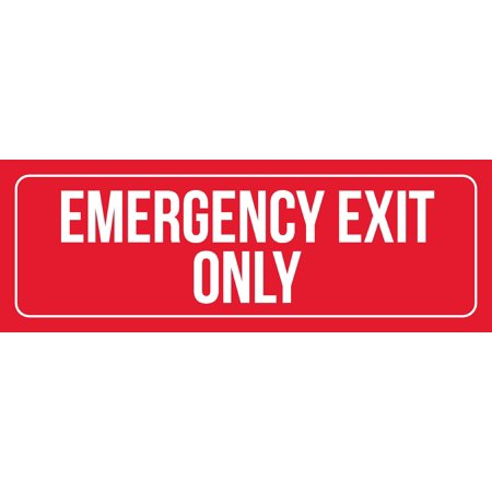 Red Background With White Font Emergency Exit Only Office Business Retail Outdoor & Indoor Metal Wall Sign, 3x9 Inch Steel Exit Sign