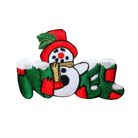 Noel Snowman - ID 8025 Noel Snowman Patch Christmas Winter Decorate Embroidered IronOn Applique