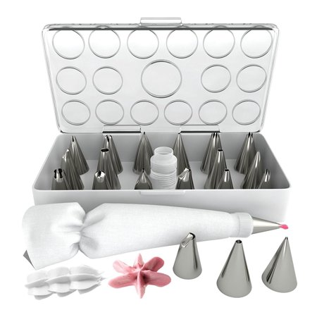 iCooker 17-Pack Decorating Tips for Cake Supplies [FREE Pastry Bag Kit Set] Best Professional Tool Tips for Icing Cupcakes - Stainless Steel Reusable Coupler & Storage Case