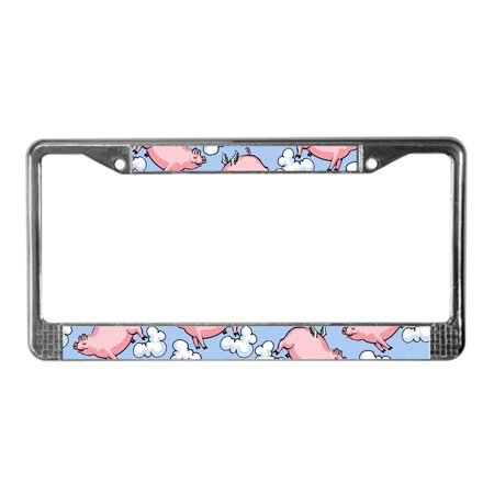 - CafePress - Flying Pig - Chrome License Plate Frame, License Tag Holder