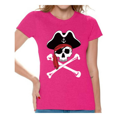 Womens Pirate Outfit (Awkward Styles Jolly Roger Skull Tshirt for Women Jolly Roger Skull Flag Gifts for Her Dia de los Muertos Shirts Women's Pirate Skull Shirt Day of the Dead Outfit Pirate)