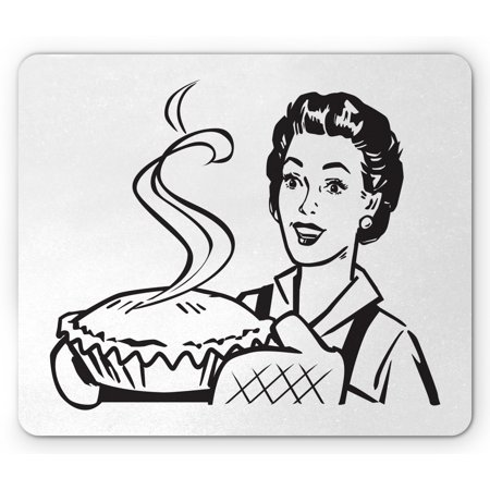 Vintage Woman Mouse Pad, Housewife Wearing Mittens Holding and Serving Freshly Baked Pie at Home, Rectangle Non-Slip Rubber Mousepad, Black and White, by Ambesonne ()