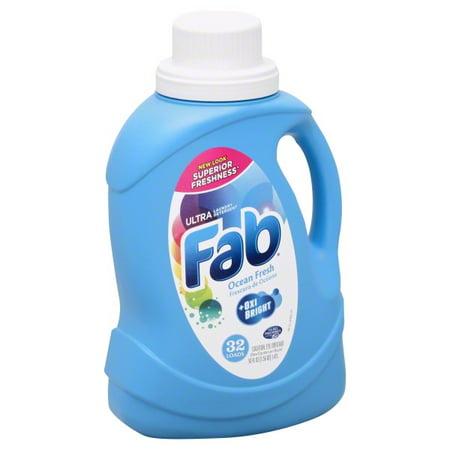Fab Ultra 2X Liquid Laundry Detergent  - 50 oz Size - Liquid - Ocean Breeze Scent - 6/