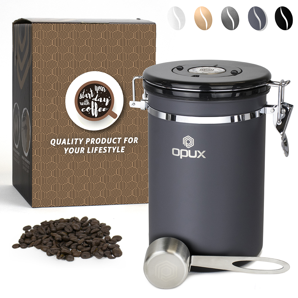 OPUX Airtight Coffee Bean Canister | Coffee Ground Vacuum Sealed Storage Vault Container| Stainless Steel Large Jar with One Way CO2 Release... by