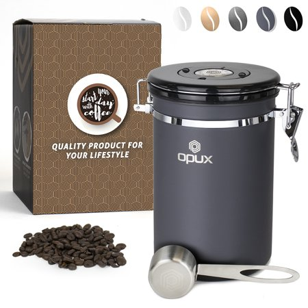 Opux Air Coffee Bean Canister Ground Vacuum Sealed Storage Vault Container Stainless Steel