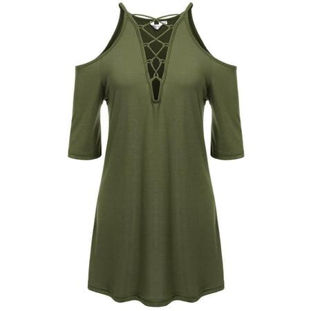 Womens Floral Print Cut Out Shoulder 3 4 Sleeve Chiffon T Shirt Tops Blouse